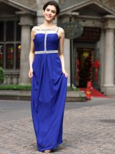 Charming Sleeveless Chiffon Floor Length Zipper Dress for Prom in Royal Blue with Beading