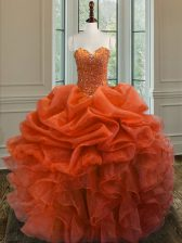 Clearance Floor Length Ball Gowns Sleeveless Orange Red Vestidos de Quinceanera Lace Up