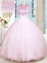 Sweetheart Sleeveless Vestidos de Quinceanera Floor Length Beading Baby Pink Satin and Tulle