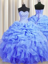 Nice Blue Lace Up Sweetheart Beading and Ruffles and Pick Ups Quinceanera Dress Organza Sleeveless