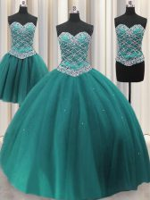 Enchanting Three Piece Sequins Ball Gowns 15th Birthday Dress Teal Sweetheart Tulle Sleeveless Floor Length Lace Up