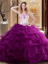 Ruffled Floor Length Ball Gowns Sleeveless Fuchsia Quinceanera Dress Lace Up
