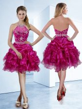 Halter Top Knee Length Fuchsia Dress for Prom Organza Sleeveless Beading and Ruffles and Pick Ups