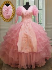 Exquisite Organza Half Sleeves Floor Length Sweet 16 Quinceanera Dress and Beading and Embroidery and Ruffled Layers