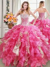 Sweetheart Sleeveless Organza Ball Gown Prom Dress Beading and Ruffles and Sequins Lace Up