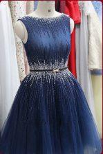 Lovely Scoop Sleeveless Tulle Knee Length Zipper Prom Dress in Navy Blue with Beading