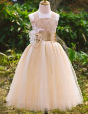 Sleeveless Floor Length Lace Lace Up Toddler Flower Girl Dress with Champagne
