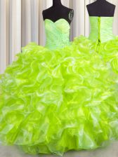 Noble Yellow Green Sleeveless Beading and Ruffles Floor Length 15 Quinceanera Dress