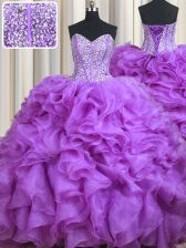 Delicate Sweetheart Sleeveless Quinceanera Gowns Sweep Train Beading and Ruffles Lilac Organza
