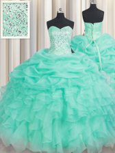 Comfortable Floor Length Apple Green 15 Quinceanera Dress Organza Sleeveless Beading and Ruffles and Pick Ups