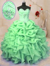 Low Price Organza Sleeveless Floor Length Quinceanera Gown and Beading and Ruffles and Pick Ups