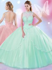 Apple Green Ball Gowns High-neck Sleeveless Tulle Floor Length Lace Up Beading Quinceanera Dresses