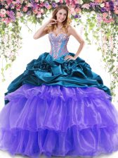Sleeveless Organza and Taffeta With Brush Train Lace Up Sweet 16 Quinceanera Dress in Multi-color with Beading and Ruffled Layers and Pick Ups