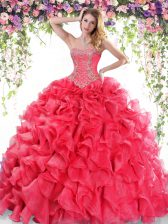 Captivating Sweep Train Ball Gowns 15th Birthday Dress Red Sweetheart Organza Sleeveless Lace Up