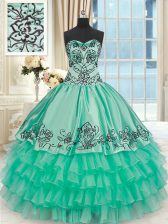 Turquoise Ball Gowns Embroidery and Ruffled Layers Sweet 16 Quinceanera Dress Lace Up Organza and Taffeta Sleeveless Floor Length
