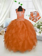 Halter Top Orange Red Sleeveless Floor Length Beading and Ruffles Lace Up Little Girls Pageant Dress
