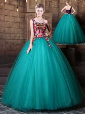 High End One Shoulder Sleeveless Tulle Floor Length Lace Up Ball Gown Prom Dress in Teal with Pattern