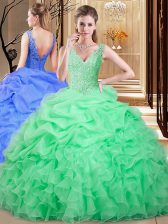 Apple Green Ball Gowns Lace and Appliques and Pick Ups 15 Quinceanera Dress Backless Organza Sleeveless Floor Length