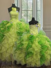 Sleeveless Floor Length Beading and Ruffles Lace Up Vestidos de Quinceanera with Multi-color