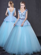 New Arrival Sleeveless Appliques Lace Up Quinceanera Dress