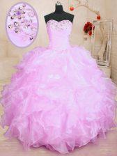 Designer Lilac Sleeveless Beading and Ruffles Floor Length Quinceanera Dresses