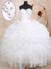 Pick Ups Sweetheart Sleeveless Zipper Sweet 16 Dresses White Organza