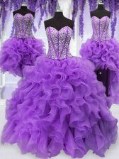 Smart Four Piece Sequins Floor Length Ball Gowns Sleeveless Eggplant Purple Sweet 16 Dresses Lace Up