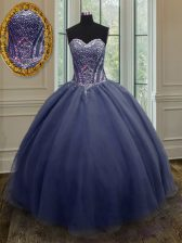 Noble Sweetheart Sleeveless Lace Up Sweet 16 Quinceanera Dress Navy Blue Organza