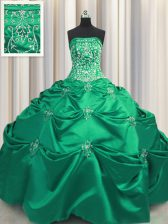 Extravagant Embroidery Ball Gowns Vestidos de Quinceanera Turquoise Strapless Taffeta Sleeveless Floor Length Lace Up