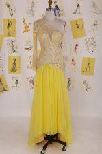Yellow Column/Sheath Organza One Shoulder Sleeveless Appliques High Low Side Zipper Prom Dress