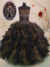 Fashion Multi-color Organza Lace Up Strapless Sleeveless Floor Length Quinceanera Gown Beading and Ruffles