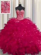 See Through Coral Red Sleeveless Floor Length Beading and Ruffles Lace Up Sweet 16 Dress