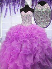Comfortable Sleeveless Lace Up Floor Length Ruffles 15 Quinceanera Dress