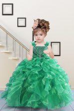 Enchanting Straps Sleeveless Organza Kids Formal Wear Beading and Ruffles Lace Up