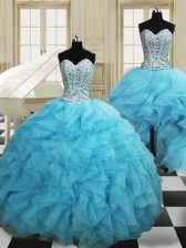 Sophisticated Three Piece Baby Blue Ball Gowns Beading and Ruffles Quinceanera Dress Lace Up Organza Sleeveless Floor Length