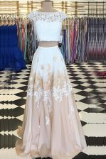Champagne Chiffon Backless Bateau Cap Sleeves Floor Length Prom Gown Beading and Lace