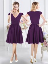 Purple Dama Dress Prom and Party with Ruching V-neck Cap Sleeves Zipper