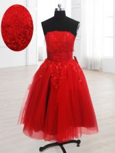 Red A-line Strapless Sleeveless Organza Knee Length Lace Up Embroidery Homecoming Dress