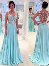 Fabulous Sweetheart Sleeveless Zipper Prom Evening Gown Aqua Blue Chiffon