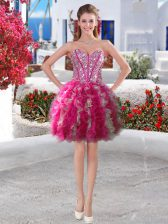 Fuchsia Ball Gowns Beading and Ruffles Prom Evening Gown Lace Up Organza Sleeveless Mini Length
