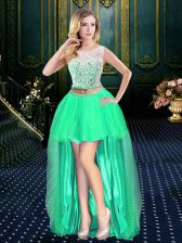 Suitable Clasp Handle Scoop Sleeveless Prom Gown High Low Lace Turquoise Tulle
