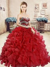 Red Organza Lace Up Ball Gown Prom Dress Sleeveless Floor Length Beading and Ruffles
