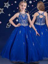 Cute Royal Blue Scoop Zipper Beading Little Girl Pageant Gowns Sleeveless