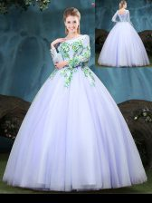 Glittering Lavender Tulle Lace Up Scoop Long Sleeves Floor Length Quinceanera Gowns Appliques