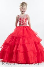 Scoop Sleeveless Organza Floor Length Zipper Pageant Gowns For Girls in Watermelon Red with Beading and Ruffled Layers