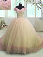 Luxurious Off The Shoulder Short Sleeves Court Train Lace Up Vestidos de Quinceanera Yellow Organza