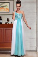 Modest Ankle Length Blue And White Evening Dress Chiffon Sleeveless Beading and Sequins and Hand Made Flower