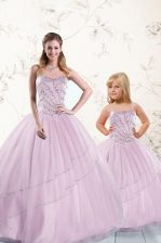 Floor Length Ball Gowns Sleeveless Lilac Quinceanera Gown Lace Up