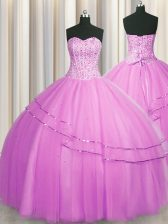 Visible Boning Really Puffy Lilac Ball Gowns Tulle Sweetheart Sleeveless Beading Floor Length Lace Up Quinceanera Dress