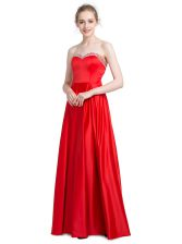 Chic Red Sleeveless Floor Length Beading Zipper Prom Party Dress